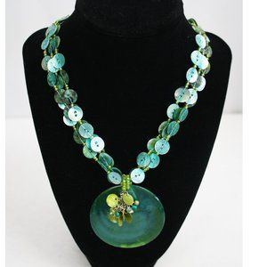 Shell Medallion and Beaded Strand Necklace